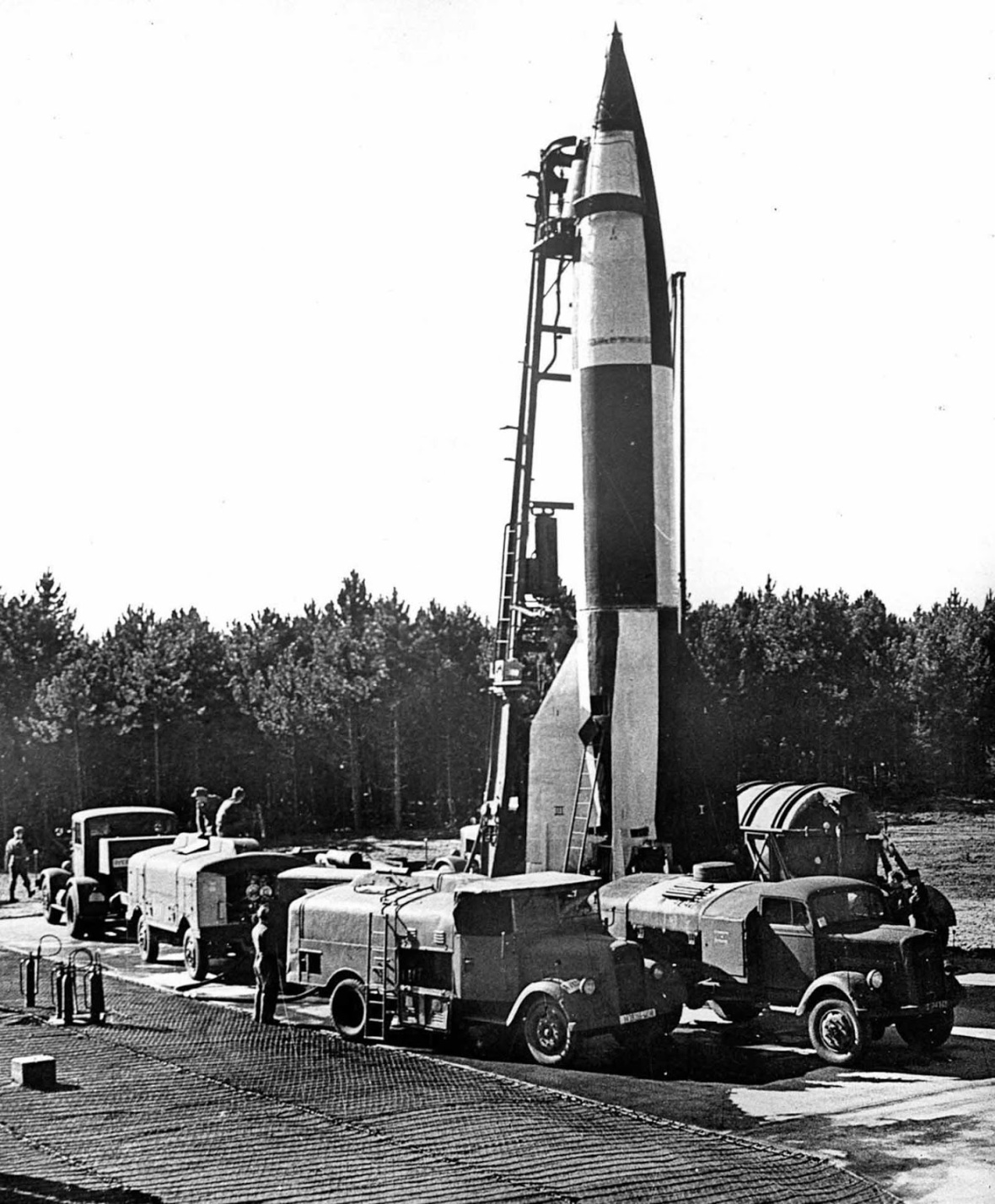 A V-2 rocket is prepared for launch in Cuxhaven, Germany. 1944.
