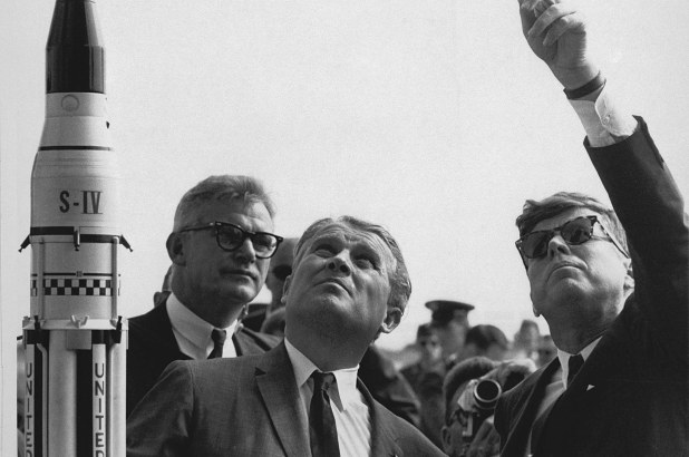 Doctor Wernher von Braun explains the Saturn Launch System to President John F. Kennedy at Cape Canaveral, Florida on November 16, 1963.